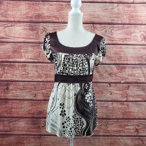 Heart Soul Brown floral blouse top